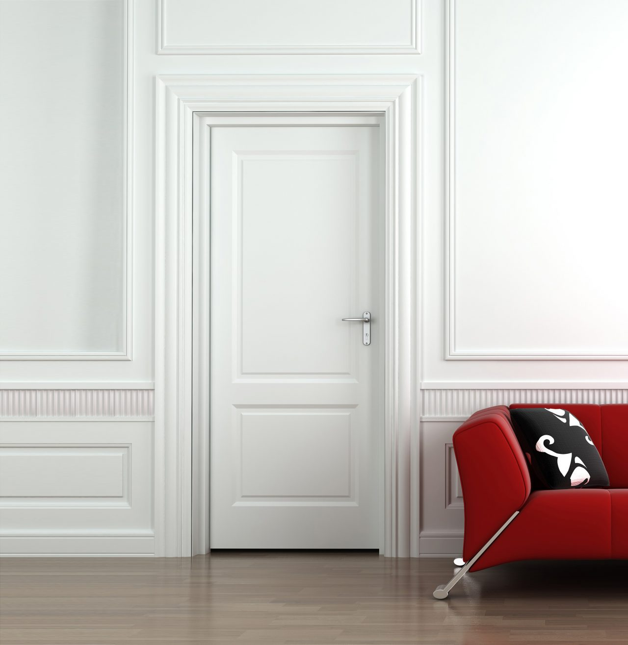 3d interior scene of a red couch on white classic wall